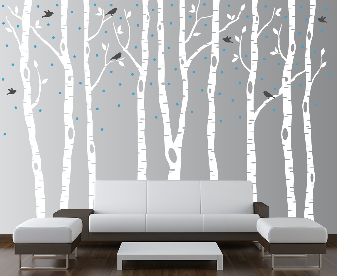 Birch tree winter forest set vinyl wall decal 1161 for Autocollant mural walmart