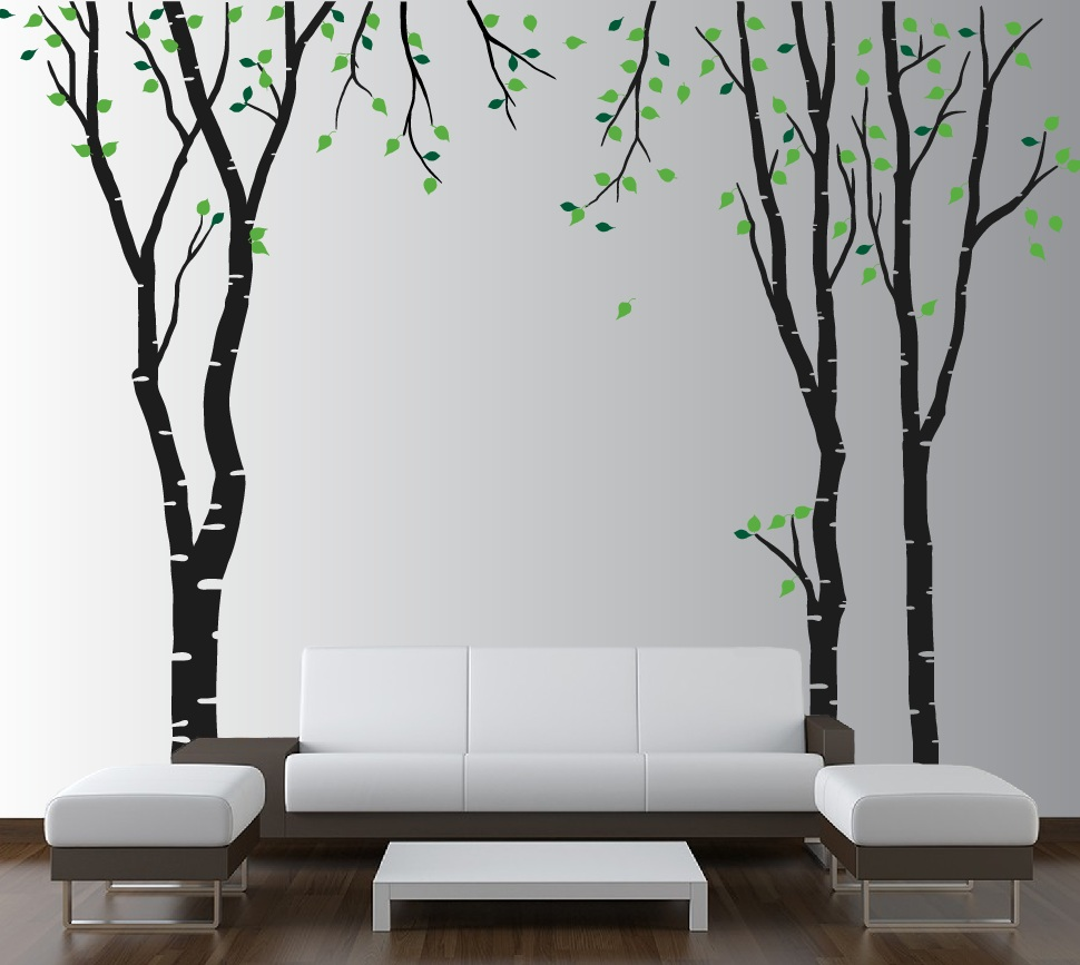 large wall birch tree decal forest kids vinyl sticker removable with leaves branches 1119