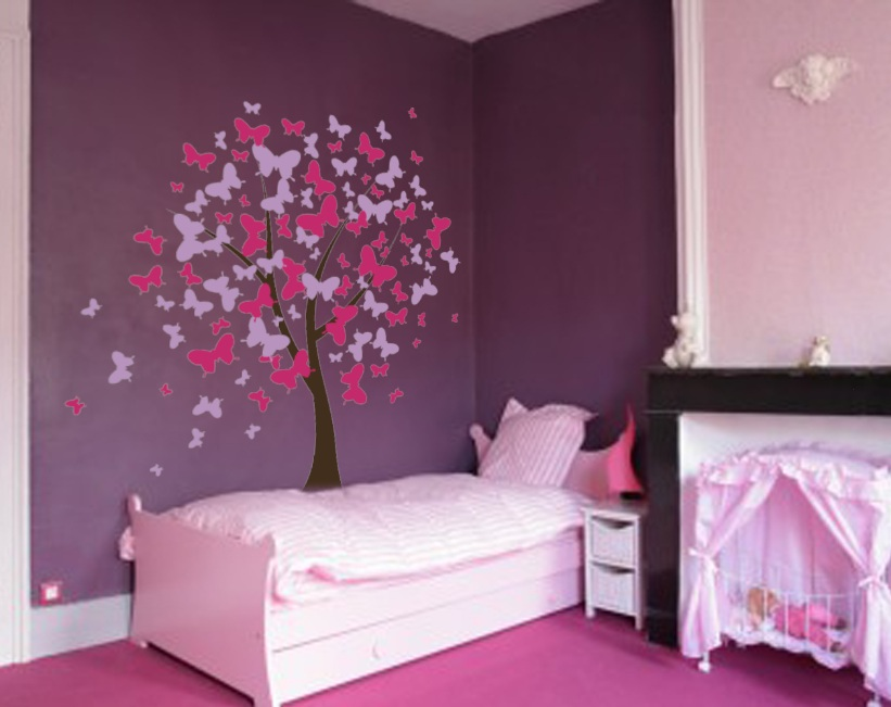 Cherry Blossom Tree With Butterflies Vinyl Wall Decals Vinyls Butterfly Wall Stickers And The Purple