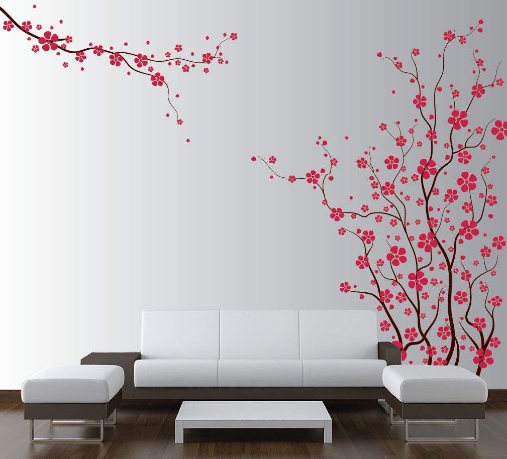 Japanese living rooms on pinterest living room japanese for Cherry blossom wall mural stencil