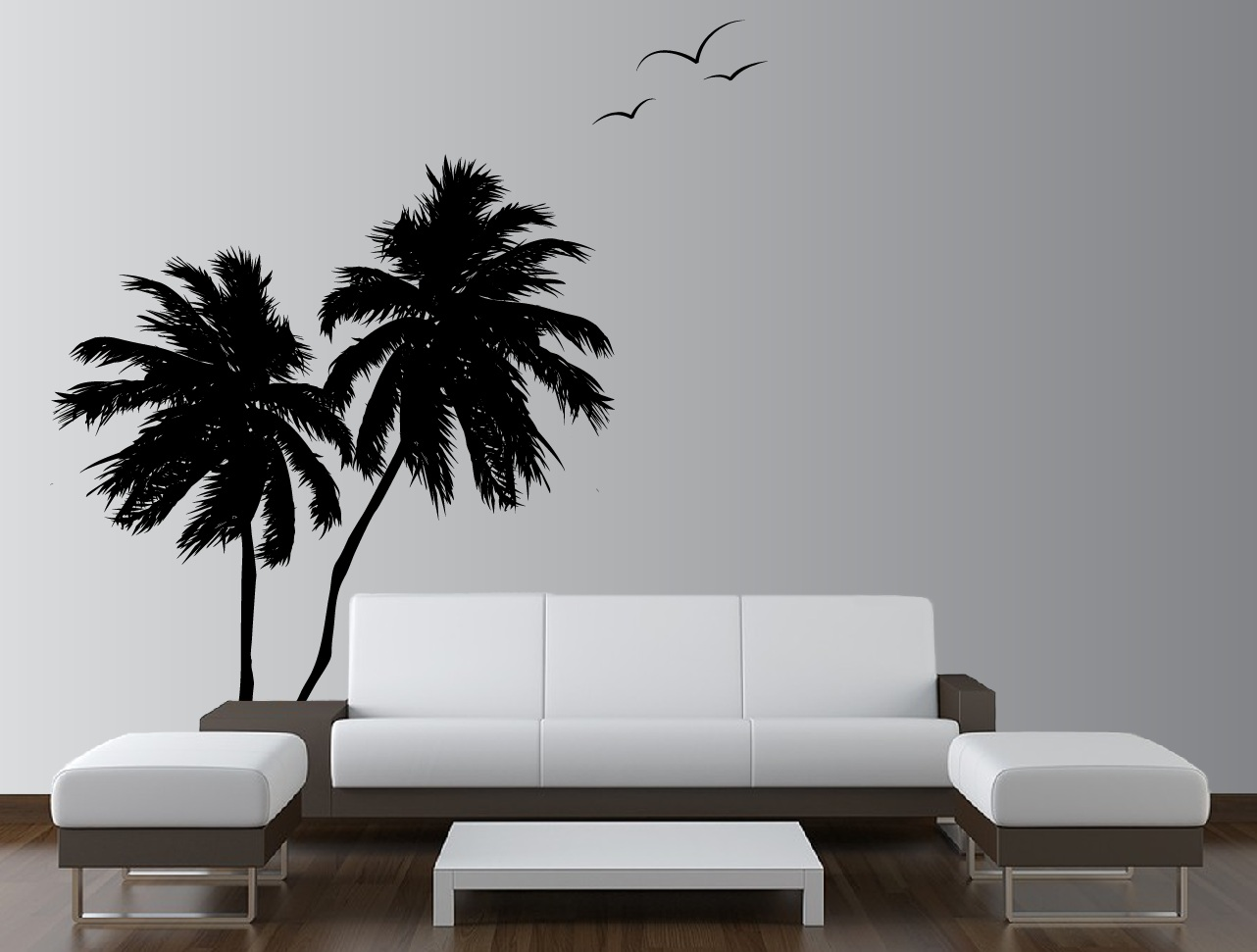 palm coconut tree wall decal with seagull birds 2 trees 1133 innovativestencils. Black Bedroom Furniture Sets. Home Design Ideas