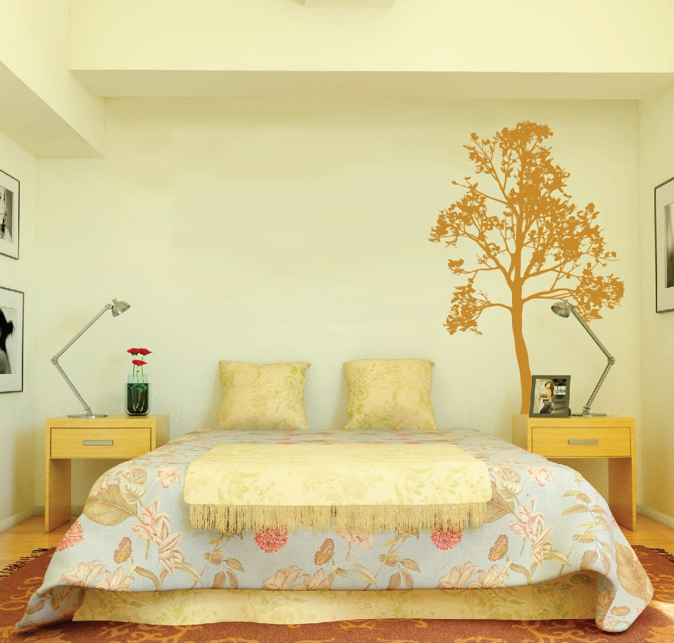 Large wall simple spring tree decal forest decor vinyl for Tree bedroom decor